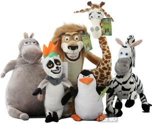 The Madagascar 3 Family Full Set Cartoon Stuffed Plush Toys For Collection