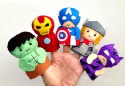 Fashion Cartoon Plush Toys The Avengers Felt Finger Puppets , For Promotion Gifts and Premium